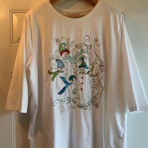 CJ Banks Snowman Embellished Top - Size 3X